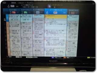 アクオス液晶テレビの番組表表示