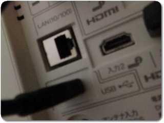 液晶テレビの裏側に外付けHDDのUSBケーブルを挿す